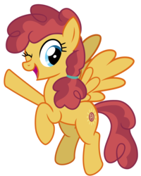 Size: 3200x4000 | Tagged: safe, artist:cheezedoodle96, sunny delivery, pegasus, pony, the break up breakdown, .svg available, background pony, female, flying, looking at you, mare, one eye closed, simple background, smiling, solo, svg, transparent background, vector, waving, wink