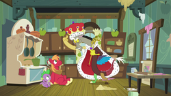 Size: 1280x720 | Tagged: safe, screencap, big macintosh, discord, spike, draconequus, dragon, earth pony, pony, the break up breakdown, cape, cloak, clothes, crown, discane, discord scepter, jewelry, king discord, kitchen, oven, pointing at self, regalia, scepter