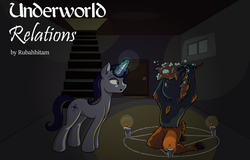 Size: 1024x654 | Tagged: safe, artist:moonlightfan, moonlight raven, oc, basement, candle, cover art