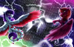 Size: 2500x1597 | Tagged: safe, artist:shamy-crist, artist:sunshinefiddle, oc, oc only, oc:sunny crist, oc:sunshine, alicorn, dracony, hybrid, female, lightning, rain