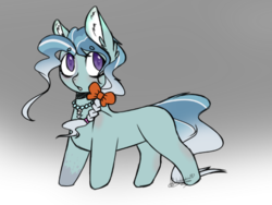 Size: 534x401 | Tagged: safe, artist:pinkdolphin147, petunia paleo, silver spoon, pony, blank flank, fusion, gradient background, solo