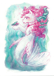 Size: 500x708 | Tagged: safe, artist:annapommes, dipper, merpony, sea pony, seapony (g4), g1, bubble, dorsal fin, eyelashes, female, fish tail, flowing mane, flowing tail, jewelry, necklace, open mouth, pearl necklace, seashell, simple background, solo, swimming, tail, underwater, water