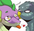 Size: 1100x1000 | Tagged: safe, artist:yuyusunshine, gabby, spike, dragon, griffon, dialogue, eyebrows, female, fluffy, heart, hilarious in hindsight, kissing, male, mlem, older, older spike, shipping, silly, simple background, spabby, starry eyes, straight, tongue out, white background, wingding eyes