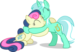 Size: 2273x1584 | Tagged: adorabon, artist:frownfactory, bon bon, cute, cutie mark, duo, earth pony, eyes closed, female, horn, hug, lyrabetes, lyra heartstrings, mare, pony, safe, simple background, svg, .svg available, sweetie drops, the break up breakdown, transparent background, unicorn, vector