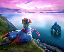 Size: 4600x3713 | Tagged: safe, artist:gaelledragons, rainbow dash, pegasus, pony, beautiful, cliff, clothes, cloud, cloudy, coast, colored wings, colored wingtips, detailed, ear fluff, facing away, featured image, female, gradient wings, grass, iceland, looking at something, mare, mountain, mountain range, multicolored wings, ocean, prone, rear view, scarf, scenery, scenery porn, sky, solo, windswept mane, wing fluff, wings