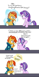Size: 1071x2091 | Tagged: artist:lance, blushing, clueless, comic, duo, female, flirting, magic, male, mare, oblivious, pick up line, pony, safe, scroll, shipping, simple background, stallion, starburst, starlight glimmer, straight, sunburst, telekinesis, unicorn, white background