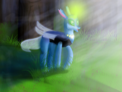 Size: 1600x1200 | Tagged: artist:dragonicbladex, blue, bright, changedling, changeling, changeling oc, forest, glowing horn, green eyes, light, light rays, oc, pond, rays, reformed, safe, shadow, tree, water