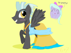 Size: 2048x1536 | Tagged: artist:sixes&sevens, blushing, clothes, crossdressing, cute, derpibooru exclusive, dress, eyeshadow, female, flitter, makeup, male, mare, pegasus, pony, safe, stallion, straight, thunderlane