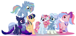 Size: 2908x1400 | Tagged: alicorn, artist:unicorn-mutual, earth pony, female, interspecies offspring, magical lesbian spawn, mare, oc, oc only, offspring, parent:applejack, parent:limestone pie, parent:night glider, parent:pacific glow, parent:princess luna, parent:queen novo, parent:rainbow dash, parent:scarlet heart, parents:limedash, parents:lunovo, parents:twijack, parents:vaporglider, parents:vinylglow, parent:twilight sparkle, parent:vapor trail, parent:vinyl scratch, parent:violet burr, pegasus, pony, safe, simple background, transparent background, two toned wings, unicorn