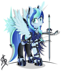 Size: 1600x1862 | Tagged: alicorn, alicorn oc, armor, artist:aleriastarlight, badass, boots, clothes, collar, cutie mark background, digital art, dungeons and dragons, epic, fantasy class, female, glowing horn, leggings, leg strap, magic, mare, oc, oc:caeleste aurorae frostfall, oc only, pony, safe, shoes, signature, simple background, solo, telekinesis, transparent background, vector, warrior, weapon, wingding eyes