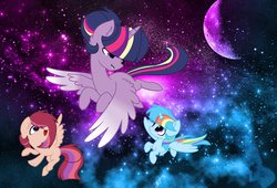Size: 3488x2368 | Tagged: alicorn, artist:bronyponyyy2340, base used, flying, magical lesbian spawn, oc, oc:colour sparkling, oc:speckled star, offspring, parent:rainbow dash, parents:sunsetsparkle, parents:twidash, parent:sunset shimmer, parent:twilight sparkle, pegasus, pony, safe, space, twilight sparkle, twilight sparkle (alicorn)