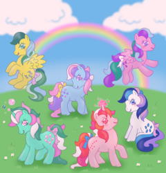 Size: 1920x2000   Tagged: safe, artist:donkeyinthemiddle, fizzy, galaxy (g1), gingerbread, masquerade (g1), sweet stuff, whizzer, twinkle eyed pony, g1, bubble, cute, fizzybetes, galaxydorable, gingerbetes, magic, masqueradorable, rainbow, sweet sweet stuff, whizzabetes