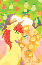 Size: 587x900 | Tagged: apple, artist:justasuta, brightbutter, bright mac, female, food, looking at each other, male, pear, pear butter, safe, shipping, straight