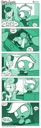 Size: 726x2263 | Tagged: artist:dori-to, bon bon, clothes, comic, comic:silly lyra, dexterous hooves, drawer, duo, earth pony, female, greenscale, hoodie, lyra heartstrings, mare, monochrome, pony, relatable, safe, silly, silly lyra, stapler, sweetie drops, unicorn
