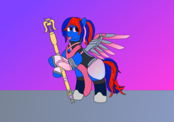 Size: 3840x2688 | Tagged: artist:northern-frost, blep, caduceus staff, oc, oc:glory solaris, pegasus, ponytail, safe, silly, solo, tongue out