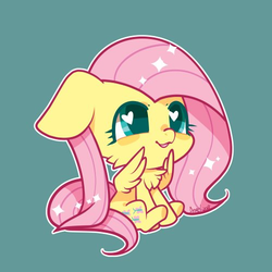 Size: 500x500 | Tagged: safe, artist:snow angel, fluttershy, pegasus, pony, chest fluff, chibi, cute, female, heart eyes, mare, shyabetes, simple background, solo, weapons-grade cute, wingding eyes