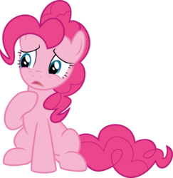 Size: 1402x1440 | Tagged: safe, artist:ponkus, pinkie pie, pony, hearthbreakers, female, sad, simple background, sitting, solo, transparent background, vector