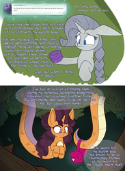 Size: 2200x3000 | Tagged: safe, artist:heir-of-rick, rarity, saffron masala, crystal pony, golem, lamia, original species, pony, snake pony, miss pie's monsters, ask, bandage, bandaged hoof, braid, bust, clarity, comic, dialogue, female, lamiafied, mare, prehensile tail, saddle bag, species swap, speech bubble, tumblr
