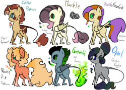 Size: 1200x857 | Tagged: safe, artist:frairlight, oc, oc only, oc:butterscotch, oc:coffee bean, oc:emerald, oc:marble, oc:opal, oc:peachy pie, classical unicorn, unicorn, base used, cloven hooves, color palette, curved horn, female, hybrid wings, leonine tail, male, mare, offspring, parent:big macintosh, parent:fluttershy, parent:king sombra, parent:rainbow dash, parent:rarity, parent:soarin', parent:sunburst, parent:zecora, parents:fluttermac, parents:soarinshy, parents:sombradash, parents:sombrarity, parents:sombrashy, parents:zecoraburst, simple background, stallion, tail feathers, transparent background, unshorn fetlocks