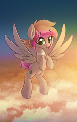 Size: 956x1500 | Tagged: artist:sharemyshipment, cloud, flying, oc, oc only, oc:sakura mochi, pegasus, pony, safe, solo