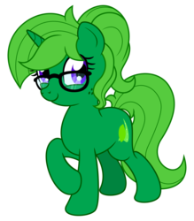 Size: 1538x1752 | Tagged: alternate hairstyle, alternate version, artist:limedreaming, artist:musicfirewind, female, females only, freckles, glasses, green fur, happy, looking at you, oc, oc:lime dream, oc only, safe, smiley face, solo, solo female, study, unicorn, vector
