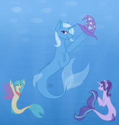 Size: 676x712 | Tagged: safe, artist:demonsoul24, princess skystar, starlight glimmer, trixie, pony, seapony (g4), unicorn, my little pony: the movie, seaponified, seapony starlight glimmer, seapony trixie, smiling, species swap, underwater