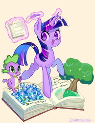 Size: 1200x1550 | Tagged: safe, artist:yam, spike, twilight sparkle, dragon, pony, unicorn, blushing, book, checklist, duo, female, glowing horn, magic, male, orange background, simple background, smiling, telekinesis, tree, unicorn twilight