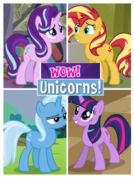 Size: 620x820 | Tagged: captain obvious, counterparts, female, magical quartet, magical trio, mare, meme, pony, safe, starlight glimmer, sunset shimmer, trixie, twilight's counterparts, twilight sparkle, unicorn, unicorn master race, unicorn twilight, we are unicorns, wow! glimmer