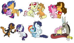 Size: 9808x5752 | Tagged: alicorn, applejack, artist:kannayui, blushing, book, capper dapperpaws, capperity, cheesepie, cheese sandwich, discord, discoshy, female, flashlight, flash sentry, flim, flimjack, flower, fluttershy, heart, hug, kissing, lasso, male, pinkie pie, rainbow dash, rarity, rope, rose, safe, shipping, simple background, soarin', soarindash, straight, tongue out, transparent background, twilight sparkle, twilight sparkle (alicorn)