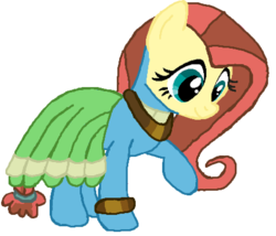 Size: 456x390 | Tagged: safe, artist:qjosh, fluttershy, meadowbrook, earth pony, pegasus, pony, accessory, bracelet, character to character, clothes, dress, female, hairband, jewelry, looking down, mare, necklace, pony to pony, raised leg, simple background, smiling, standing, transformation, white background