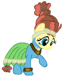 Size: 452x557 | Tagged: safe, artist:qjosh, fluttershy, meadowbrook, earth pony, pegasus, pony, accessory, bracelet, character to character, clothes, dress, female, hairband, headband, jewelry, looking down, mare, necklace, pony to pony, raised leg, simple background, smiling, standing, transformation, white background