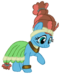 Size: 452x557 | Tagged: safe, artist:qjosh, fluttershy, meadowbrook, earth pony, pegasus, pony, accessory, bracelet, character to character, clothes, dress, female, hairband, headband, jewelry, looking down, mare, necklace, pony to pony, raised leg, simple background, smiling, standing, transformation, transformed, white background
