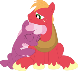 Size: 3572x3281   Tagged: safe, artist:porygon2z, big macintosh, cheerilee, cheerimac, female, male, shipping, simple background, snuggling, straight, transparent background