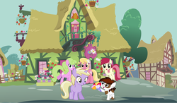 Size: 6080x3552 | Tagged: safe, artist:jawsandgumballfan24, dinky hooves, lily, lily valley, pipsqueak, roseluck, earth pony, pony, unicorn, dinkysqueak, female, flower, male, ponyville, public confession, shipping, straight, vector