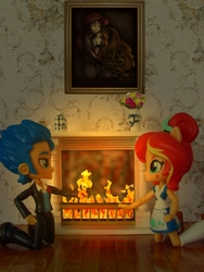 Size: 1050x1400   Tagged: safe, artist:ponut_joe, artist:whatthehell!?, adagio dazzle, flash sentry, sunset shimmer, equestria girls, chimney, clothes, doll, equestria girls minis, eqventures of the minis, female, fire, fireplace, flashimmer, flower, flower vase, hug, irl, male, paint, photo, picture, room, shipping, skirt, straight, sunset sushi, toy, tuxedo, victorian