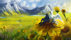 Size: 1920x1080 | Tagged: safe, artist:vampi, oc, oc only, oc:der, griffon, dandelion, duo, field, flower, furry, male, micro, mountain, nature, pollen, scenery
