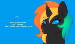 Size: 4092x2385 | Tagged: safe, artist:aidraws, oc, oc only, oc:eight, pony, unicorn, bust, female, mare, microsoft, operating system, ponified, solo, windows, windows 8, windows pony