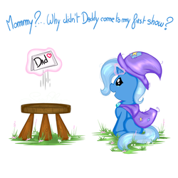 Size: 3000x3000 | Tagged: artist:saralien, cape, clothes, cute, daddy issues, dialogue, diatrixes, female, filly, filly trixie, hat, letter, levitation, magic, pony, sad, safe, solo, stool, teary eyes, telekinesis, trixie, trixie's cape, trixie's hat, unicorn, younger
