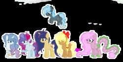 Size: 2273x1145 | Tagged: safe, artist:101xsplattyx101, oc, oc only, oc:apple cotton, oc:diamond gradient, oc:pastel flash, oc:spring flame, oc:sugar cake, oc:twinkle galaxy star, dracony, earth pony, hybrid, pegasus, pony, unicorn, augmented tail, female, mare, offspring, parent:applejack, parent:comet tail, parent:fancypants, parent:fluttershy, parent:party favor, parent:pinkie pie, parent:rainbow dash, parent:rarity, parent:spike, parent:thunderlane, parent:trenderhoof, parent:twilight sparkle, parents:cometlight, parents:flutterspike, parents:partypie, parents:raripants, parents:thunderdash, parents:trenderjack, simple background, transparent background