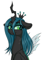 Size: 1959x2797 | Tagged: source needed, safe, artist:coinpo, artist:niggerdrawfag, queen chrysalis, changeling, changeling queen, bust, female, portrait, simple background, smiling, smug, solo, transparent background