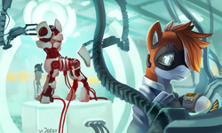 Size: 2500x1500   Tagged: safe, artist:jedayskayvoker, oc, oc only, oc:kiva, pony, robot, robot pony, ambiguous gender, blurry background, crossover, engineering, fallout, fallout 4, female, glowing eyes, hair over one eye, machine, mare, pipboy, pipbuck, ponified, synth, synth (fallout 4), the institute, wires, ych result