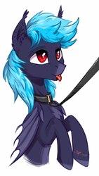 Size: 1080x1920 | Tagged: safe, artist:vincher, oc, oc only, oc:matt glow, bat pony, bat pony oc, collar, leash, solo, tongue out