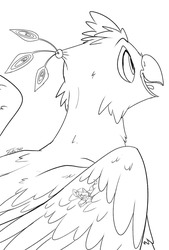 Size: 810x1200 | Tagged: safe, artist:tsitra360, oc, oc only, oc:der, oc:gyro feather, oc:gyro tech, griffon, duo, griffonized, male, micro, monochrome, sketch, species swap, wings