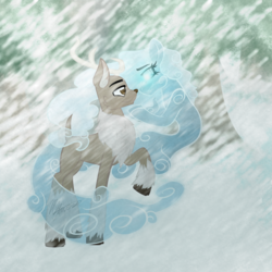 Size: 1200x1200 | Tagged: safe, artist:hoodwinkedtales, oc, oc only, oc:buck frost, oc:everest, oc:snowy, deer, reindeer, windigo, antlers, blizzard, chest fluff, cloven hooves, fluffy tail, forest, romantic, shipping, smiling, snow, snowfall, tree