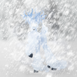 Size: 1000x1000 | Tagged: safe, artist:hoodwinkedtales, oc, oc only, oc:everest, oc:permafrost, oc:snowy, deer, reindeer, windigo, antlers, blizzard, chest fluff, cloven hooves, fusion, snow, snowfall, solo, white eyes