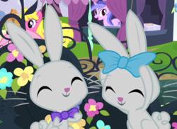 Size: 528x385 | Tagged: safe, screencap, cherry berry, sea swirl, seafoam, earth pony, pony, rabbit, unicorn, filli vanilli, animal, background pony, bow, bowtie, cropped, cute, duo focus, eyes closed, female, hair bow, happy, mare, smiling