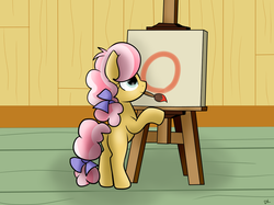 Size: 1024x764 | Tagged: safe, artist:envygirl95, kettle corn, pony, marks and recreation, canvas, circle painting, female, mouth hold, paintbrush, solo