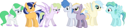 Size: 4541x1037 | Tagged: artist:mikoneerd, dracony, earth pony, female, hybrid, interspecies offspring, male, mare, oc, oc:apple stone, oc:breezy rain, oc:dusk shine, oc:lavanda, oc:lavender dust, oc:party surprise, oc:risky luck, offspring, parent:applejack, parent:flash sentry, parent:fluttershy, parent:limestone pie, parent:party favor, parent:pinkie pie, parent:rainbow dash, parent:rarity, parents:flashlight, parents:limejack, parent:soarin', parents:partypie, parent:spike, parents:soarinshy, parents:sparity, parents:zephdash, parent:twilight sparkle, parent:zephyr breeze, pegasus, pony, safe, simple background, stallion, transparent background