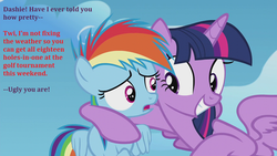 Size: 1280x720 | Tagged: alicorn, bad touch, creepy, creepy smile, dialogue, edit, edited screencap, female, filly, filly rainbow dash, gritted teeth, i need an adult, lesbian, mare, out of context, pony, rainbow dash, safe, screencap, shipping, side hug, smiling, the cutie re-mark, twidash, twilest dashle, twilight is a foal fiddler, twilight sparkle, twilight sparkle (alicorn), younger