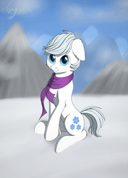 Size: 1482x2057   Tagged: safe, artist:cluvry, double diamond, earth pony, pony, clothes, commission, cute, daaaaaaaaaaaw, double dawwmond, male, scarf, signature, smiling, snow, solo, stallion